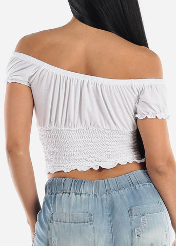 Casual Off Shoulder White Crop Top