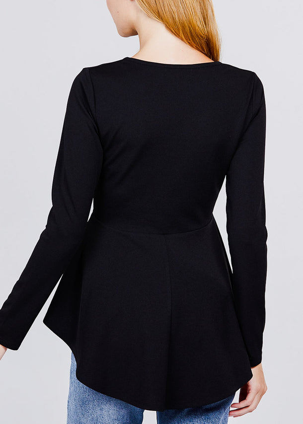 Solid Black Peplum Top