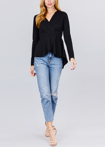 Image of Solid Black Peplum Top