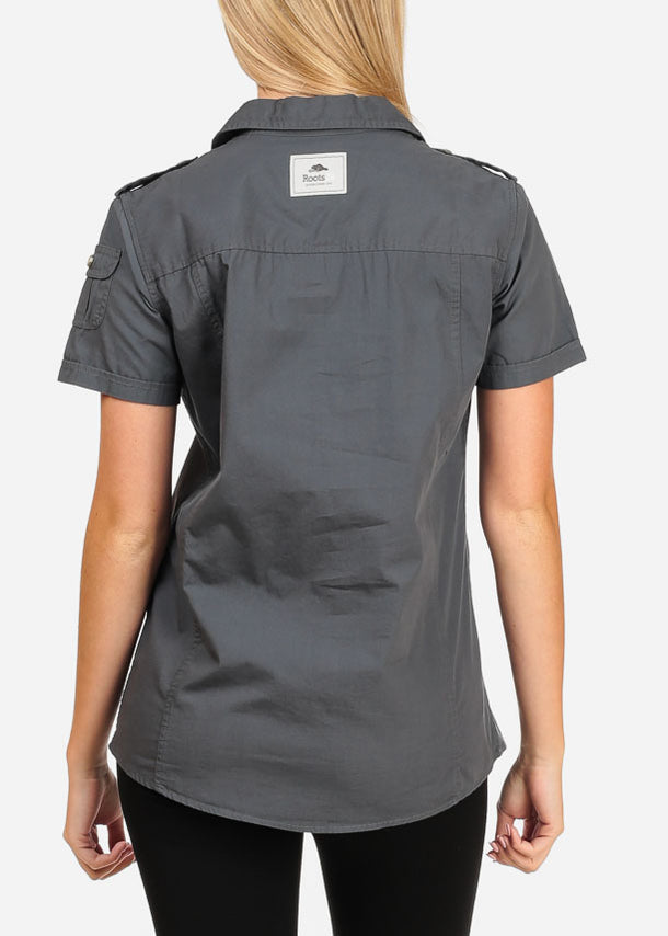 Short Sleeve Button Up Grey Shirt