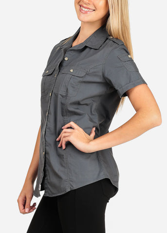 9e4f1ad9e ... Image of Women's Junior Lady Casual Formal Professional Business Career  Wear short Sleeve Button Up Grey