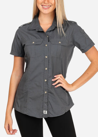 Image of Women's Junior Lady Casual Formal Professional Business Career Wear short Sleeve Button Up Grey Shirt