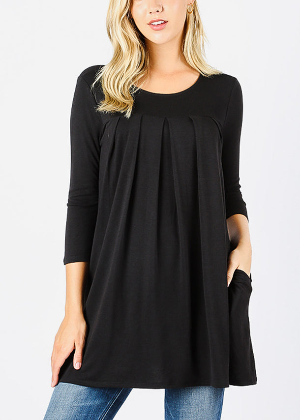 3/4 Sleeve Pleated Black Tunic Top