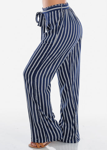 High Rise Navy Stripe Wide Leg Pants