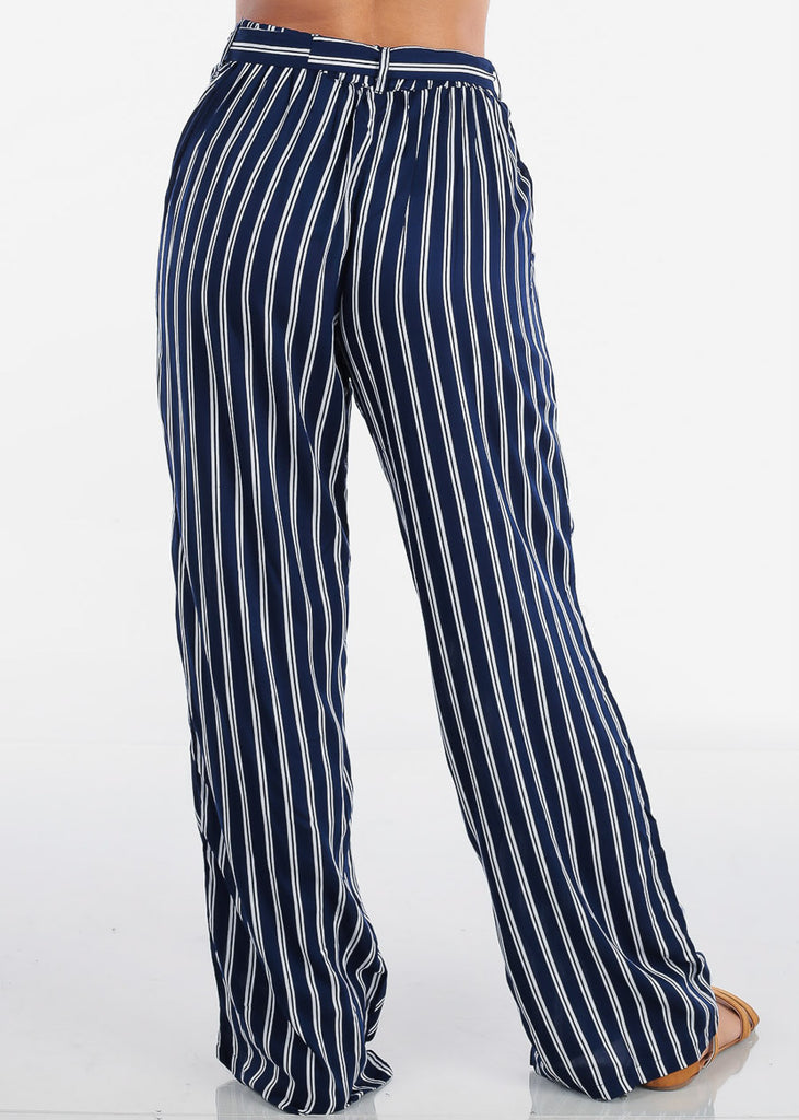 Women's Junior Ladies Casual Vacation Beach Wide Legged High Waisted Trendy Navy And White Stripe Lightweight Palazzo Pants
