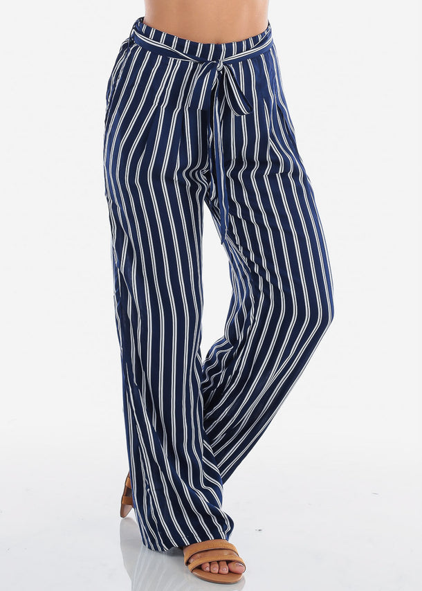 High Rise Navy Stripe Wide Leg Pants w/Belt