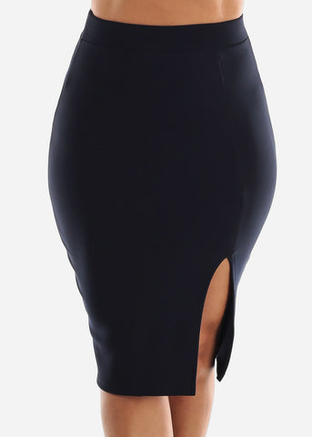 Navy Thigh Slit Pencil Skirt