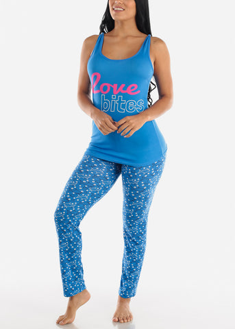 "Blue Cami & Pants ""Love Bites"" (2 PCE PJ SET)"