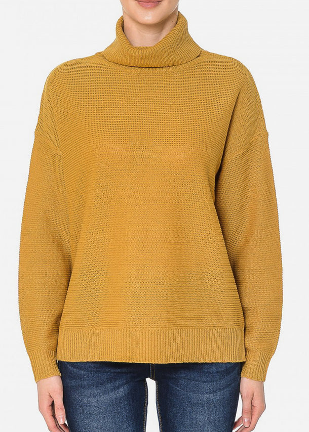 Turtle Neck Oversized Mustard Sweater