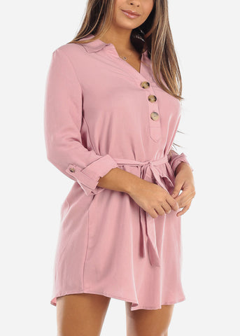 Image of Pink Half Button Belted Shirt Dress