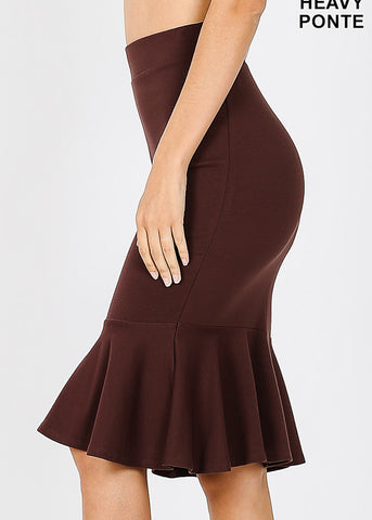 Image of High Rise Brown Peplum Skirt