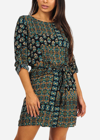 Casual  3/4 Sleeve Multi Print Above Knee Tie Front Dress