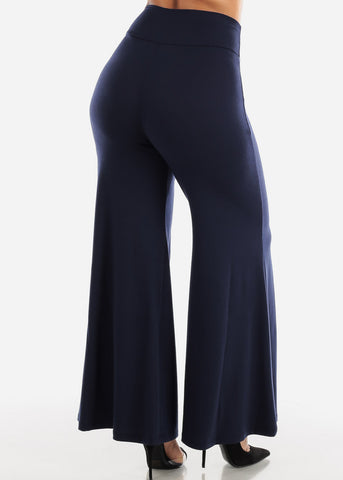 Image of High Rise Navy Palazzo Pants
