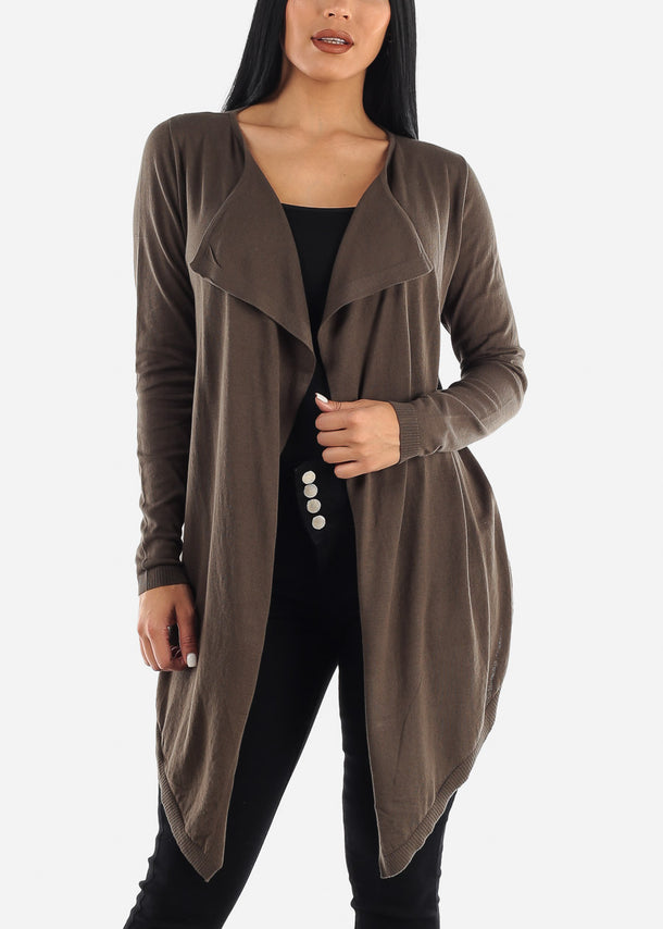 Draped Long Olive Cardigan