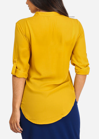 Image of Women's Junior Ladies Stylish Lightweight Solid Mustard 3/4 Roll Up Sleeve Dressy Lightweight Blouse Tunic Top