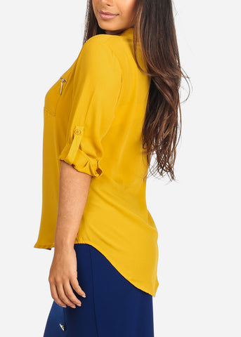 Women's Junior Ladies Stylish Lightweight Solid Mustard 3/4 Roll Up Sleeve Dressy Lightweight Blouse Tunic Top