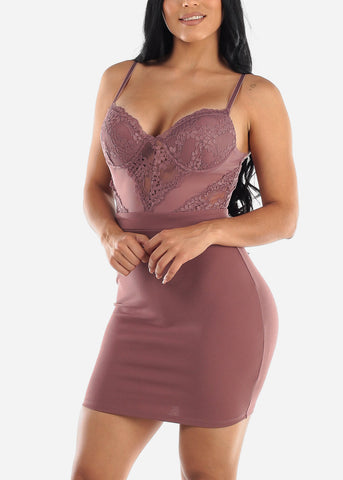 Image of Sexy Floral Lace Mauve Bodycon Dress