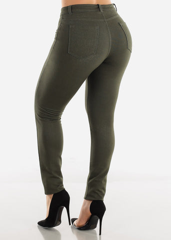 Mid Rise Stretchy Olive Pants