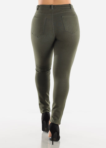 Image of Mid Rise Stretchy Olive Pants