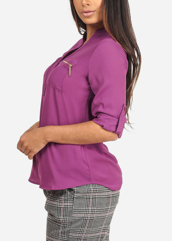 Women's Junior Ladies Stylish Lightweight Solid Dark Purple 3/4 Roll Up Sleeve Dressy Lightweight Blouse Tunic Top