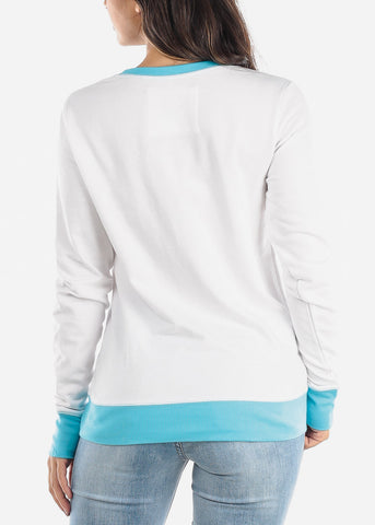 Blue And White Pullover Sweatshirt