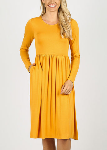 Mustard Long Sleeve Waist Shirring Dress