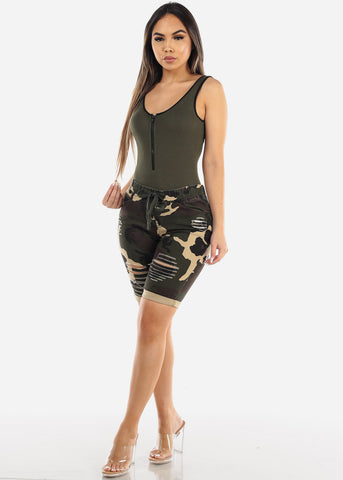 Image of Zipper Neckline Olive Bodysuit