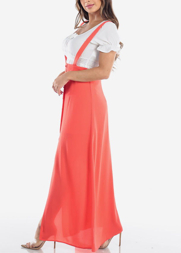 Coral Suspender Maxi Skirt