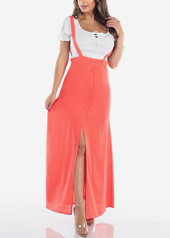 Image of Cute Overall Coral Suspender Maxi Skirt For Women Ladies Juniors