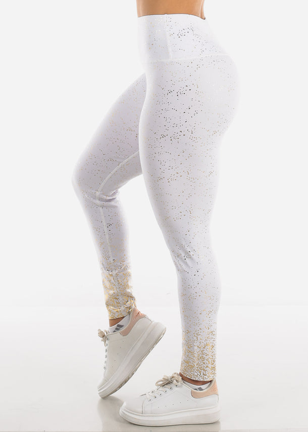 Activewear Gold Printed White Leggings