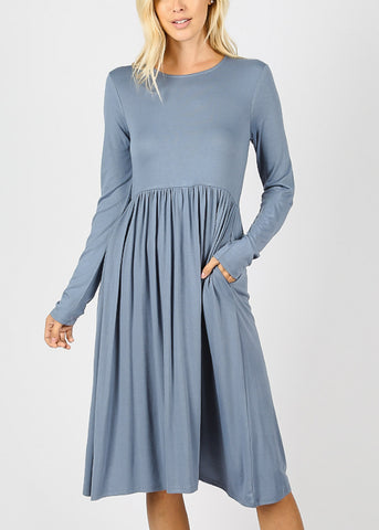Blue Grey Long Sleeve Waist Shirring Dress