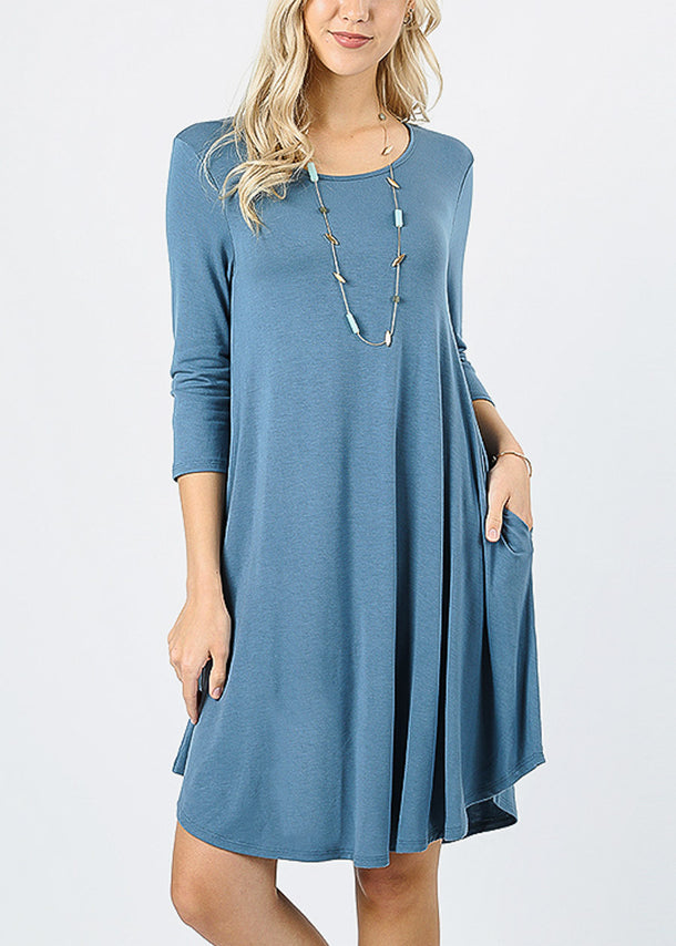 Blue Grey Round Hem A-Line Dress
