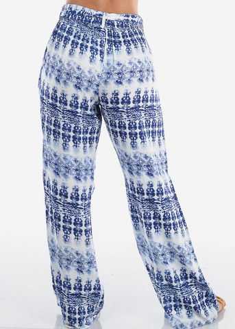 Women's Junior Ladies Casual Trendy Beach Vacation Wide Legged Blue And White Printed Lightweight Wide Legged Palazzo Pants