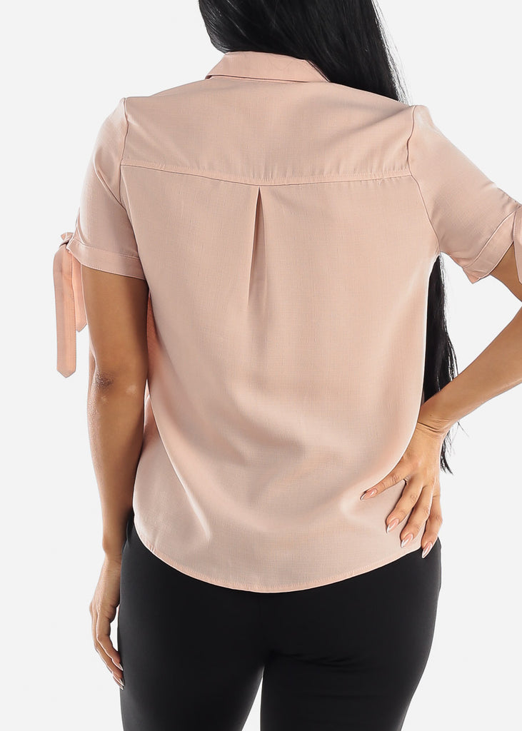 Half Button Up Light Mauve Blouse