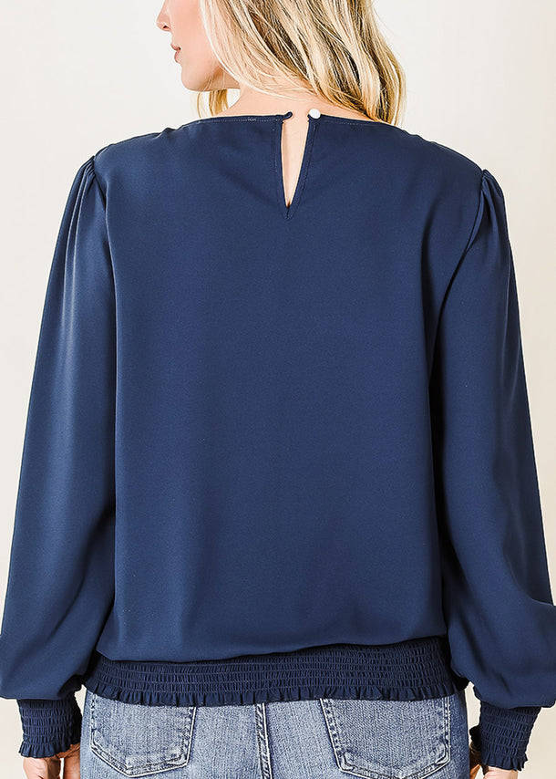 Puff Sleeve Smocked Hem Navy Blouse