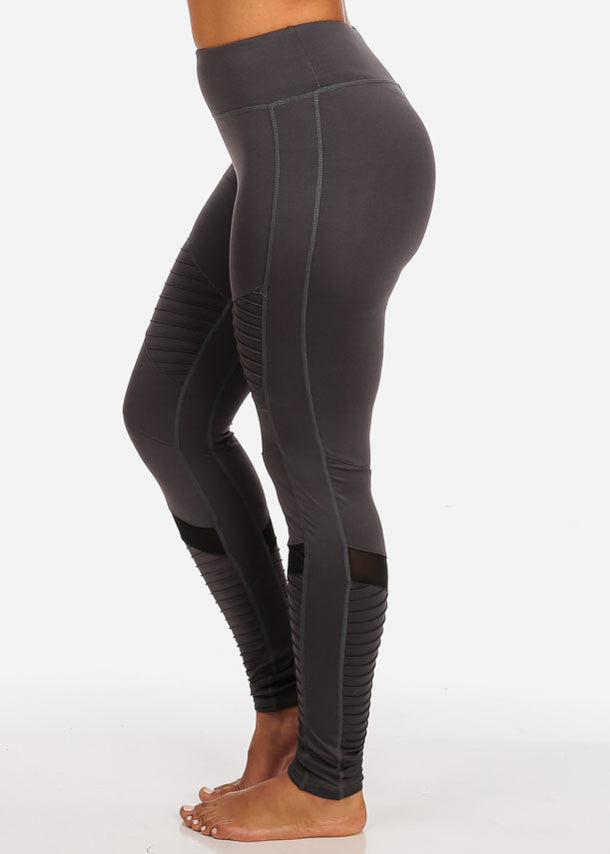 Activewear Dark Grey Moto Design Sheer Mesh  High Rise Leggings