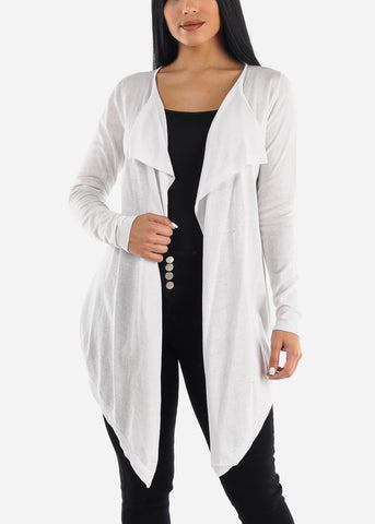 Draped Long White Cardigan