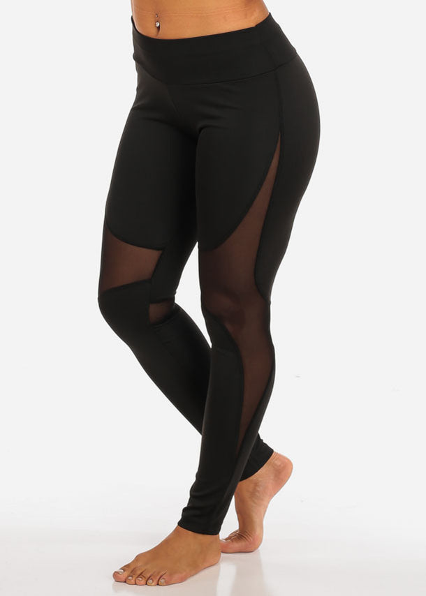 Activewear High Waisted Sheer Mesh Detail Black Leggings