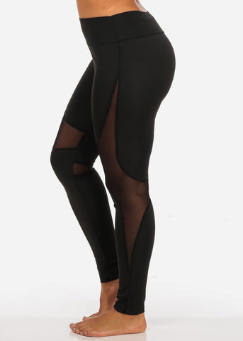 Image of Activewear High Waisted Sheer Mesh Detail Black Leggings