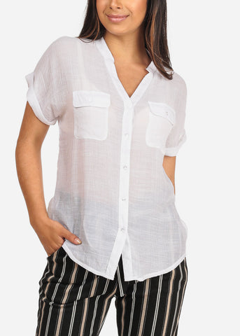 Image of Women's Junior Ladies Stylish Casual Lightweight Flowy See Through Button Up White Blouse Top