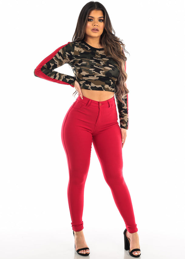 Camouflage Long Sleeve Crop Top