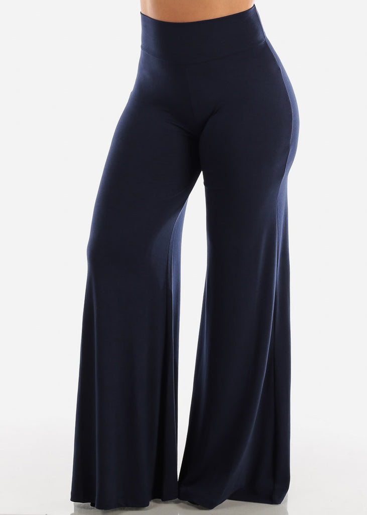 High Waisted Navy Palazzo Pants