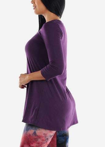 Strappy Neckline Dark Purple Tunic Top