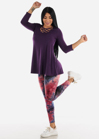 Image of Strappy Neckline Dark Purple Tunic Top