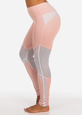 Image of Activewear Pink And White Fishnet And Mesh High Rise Leggings W Silver Detail