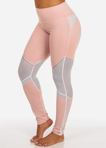 Activewear Pink And White Leggings