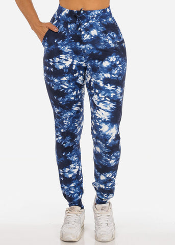 Casual Tie Dye High Waisted Work Out Stretchy Jogging Navy Jogger Pants
