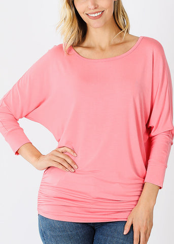 Boat Neck Shirred Pink Tunic Top