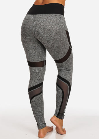 Image of Activewear Black And Grey Sheer Mesh High Rise Leggings