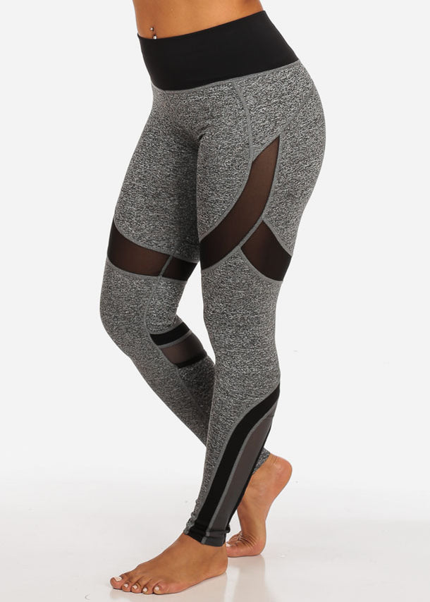 Activewear Black And Grey Sheer Mesh High Rise Leggings